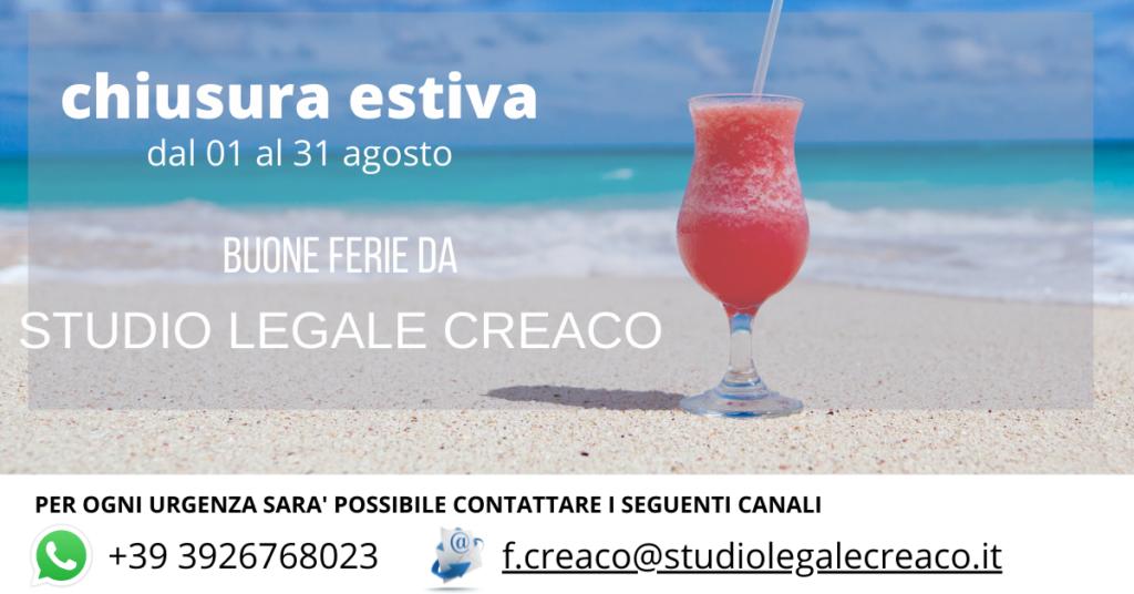 Studio Legale Creaco ferie